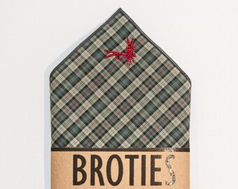 """Pocket Square – Sage/Charcoal/Red Plaid - """"Adams Dry Fly"""" Embroidery"""
