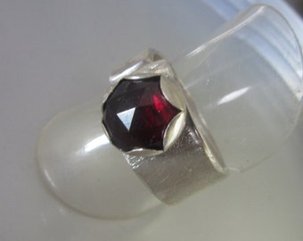 GARNET Wide Band Ring - Adjustable Open Band Ring
