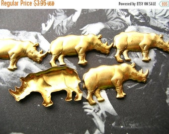 Christmas Sale Rhino Stampings - Rhinoceros Charm Lot - Raw Brass - Brass Findings - Brass Stampings - Animal Findings
