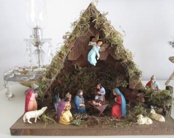 Vintage nativity scene, vintage W Germany nativity ,christmas nativity made in Germany, stable , vintage christmas vintage german christmas