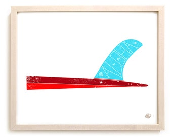 "Surfing Art Print ""Aloha Fin"""