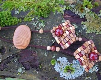 Ash Birch Oak Wooden Necklace, Nature Eco Friendly Boho Hippie Necklace, Woodland Rustic Long Necklace, Square Wooden Pendant