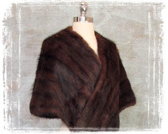 Vintage Mink Fur Stole, Fur Cape, 1950s Fur Stole, Capelet, Fur Wrap, Chocolate Brown
