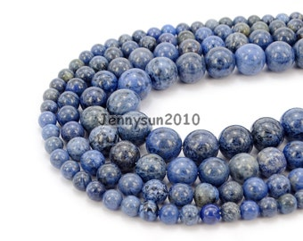 """Natural Dumortierite Gemstone Round Beads 15.5"""" 6mm 8mm 10mm 12mm for Jewelry Design Making Crafts"""