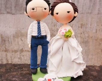 Wedding Cake topper wedding dress with flounced organza ruflle skirt clay doll,clay miniature engagement decoration,anniversary clay figure