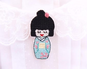 Japanese doll collar pin, cross stitched pin, kokeshi doll, kimono, gifts under 30, japanese inspired