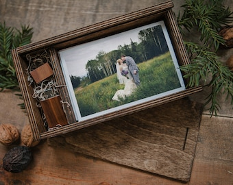 """Custom - Set of 12 - 4x6 """"rectangle"""" Wood print box - Two tone Gold Inlay on box - 8gb USB laser engraved - (spanish moss included)"""
