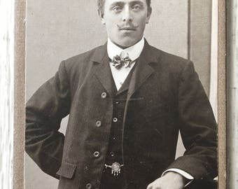 Mustache & Jewelry Sharp Dressed Man Victorian Playboy Vintage Photo Card Mounted