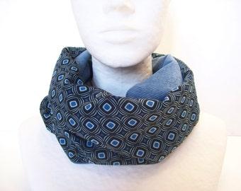 infinite scarf geometric fabric , velvet cowl blue and black, women's neckwarmer