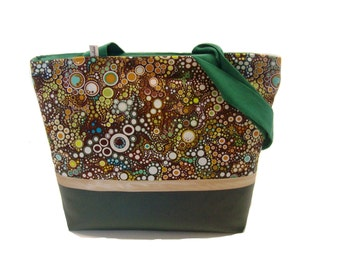handbag green and brown effervescence in faux leather and fabric tote bag zippered