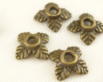6mm Antiqued Bronze Tiny Small Four Leafed Bead Caps (100) - BF2
