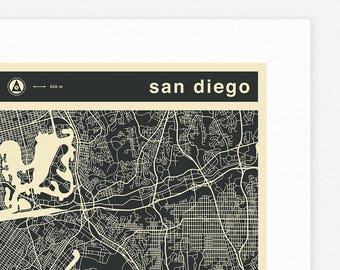 SAN DIEGO MAP (Giclée Fine Art Print, Photographic Print or Poster Print) mono version
