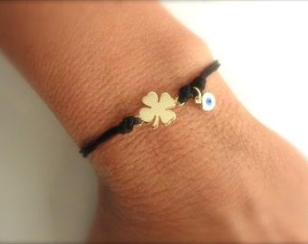Lucky gold clover bracelet with evil eye dangle  - lucky bracelet - 4 leaf bracelet - protection bracelet - evil eye bracelet -