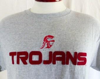 Go Trojans vintage 90's USC University of Southern California heather grey graphic t-shirt wine red embroidered applique felt logo Medium