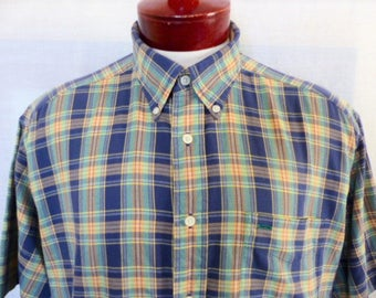 vintage 90s Tommy Hilfiger blue pastel mint green peach orange plaid check pattern short sleeve collar shirt button up griffin logo Large