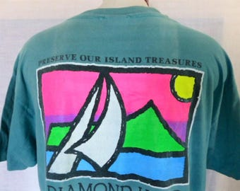 aloha vintage 90's Diamond Head Hawaii faded pastel blue green graphic t-shirt neon pink green yellow front back logo tourist souvenir XL
