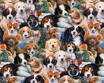 Fat Quarter Garten Welpen Hunde Digital gedruckt, 100 % Baumwolle Stoff Quilting