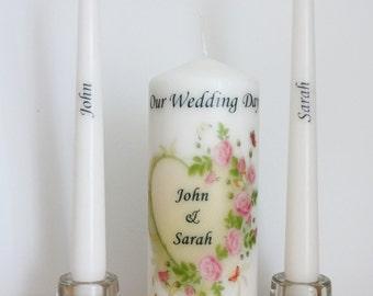 Bride and Groom Personalized Wedding Unity candle set Ceremony candles Wedding gift customized personalised candle set