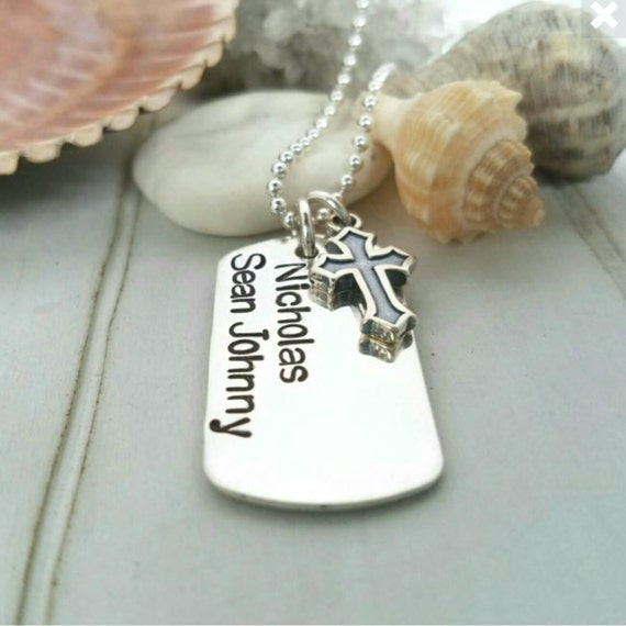 Personalized boys dog tag, Custom Dog Tag Necklace, Sterling silver dog tag, Name or Quote, Boys custom jewelry, Boys personalized jewelry