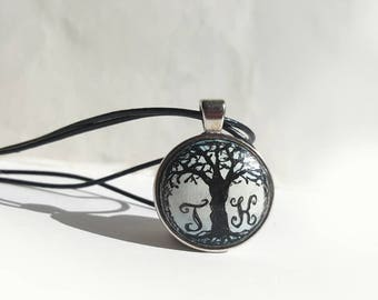 Hand Painted Initial Pendant Necklace, Black White, Two Letters, Personalized Jewelry, Original Tree Painting, Double Leather Cord Necklace
