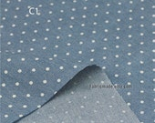 "Blue Denim Cotton Fabric with Love Hearts Polka - White Hearts Dots on Cotton Denim Soft 1/2 yard 18""X57"""