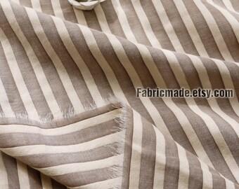 2 Layers Cotton Fabric, Yarn Dye Stripe/ Cotton/ Fabric/ Brown Pink Blue Stripe Cotton Fabric - 1/2 yard 45cm