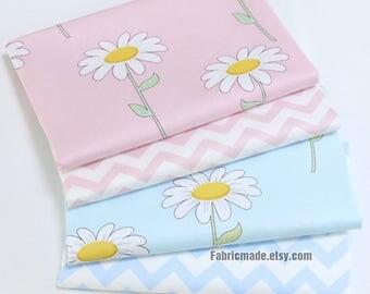 Sunflower Floral Fabric, Light Blue Pink Cotton With Sunflower Chevron- 1/2 Yard