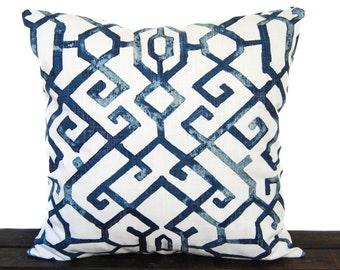 Pillow, Throw Pillow, Pillow Cover, Cushion, Decorative Pillow, navy blue white, Jing Regal Blue Slub Canvas