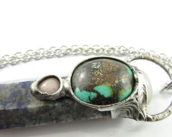ostara - tibetan turquoise, opal, chalcedony & lapis lazuli crystal point pendant