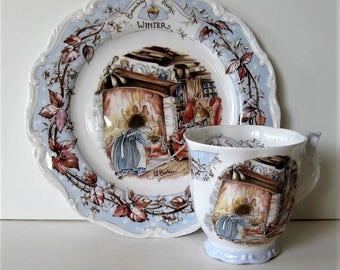 Vintage Royal Doulton Brambley Hedge Winter cup and plate set, circa 1983, Jill Barklem, mice, child's tea set, gift idea