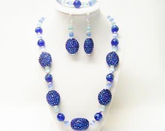 Chunky Blue Rhinestone Ball Beaded Necklace/Bracelet/Earrings
