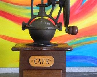 Coffee grinder French vintage wood and metal.