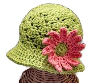 Baby Girl Floppy Sun Hat, Infant Hat, Green, Lime Green, Flower Hat
