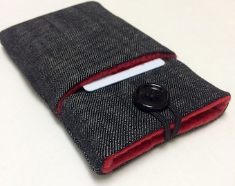 iPhone 6, 7 plus/ ipod / Google pixel / cellphone sleeve, pouch, cover, Any phone HTC 10 case in dark denim and red fleece