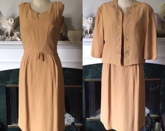 50s 60s Rhinestone embellished Silk Party Dress snd Jacket