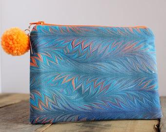 Hand Marbled Zip Pouch - Teal & Orange - item #8007