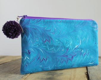 Hand Marbled Zip Pouch - Blue & Purple - item #8045