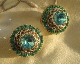 Vintage Teal Green-Sea Green, Button Clip Rhinestone Earrings, 1950's, Hollywood Regency, High Fashion, rosesandbutterflies, vintage jewelry