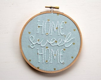 Home Sweet Home Embroidery, Pastel with Blue Hearts, Hand-stitched embroidery, Hoop Art, Handmade, Housewarming, Welcome Sign, Textile Art