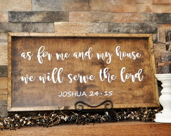 As For Me And My House We Will Serve The Lord, Wood, Handcrafted Sign