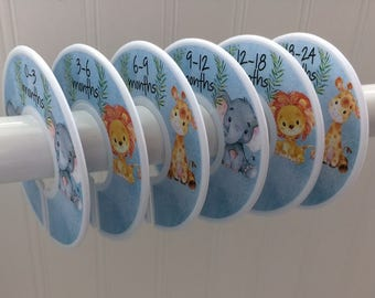 6 Baby Closet Dividers Boy Closet Organizers Clothes Dividers Animals Baby Shower Gift Baby Nursery