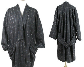 1980 french Oversized Kimono Coat / Flecked wool oversized coat