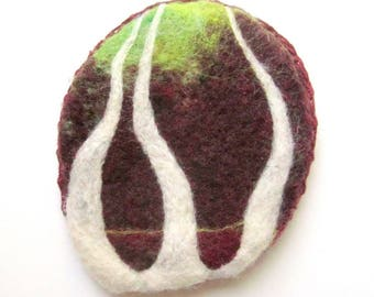 Felted brooch, wearable art piece with trees and a woodland landscape.