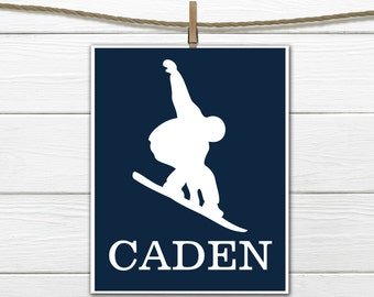 Snowboarder   Sports Silhouette- Snowboarding  - Custom Print -  Personalized
