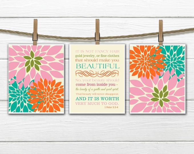 1 Peter 3:3-4   - 3 Print Set -  Teen Girl prints -  Christian Art