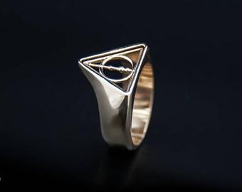 Hallows ring, unique ring, Hallows logo ring, Comics jewelry, superhero jewelry, Hallows fan, Hallows fan jewelry