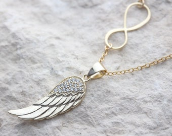 Gold Wing Necklace, Gold Infinity, Gold Angel Wing Necklace, Gold guardian Angel wing pendant, Protection, lost love one, Gold necklace.