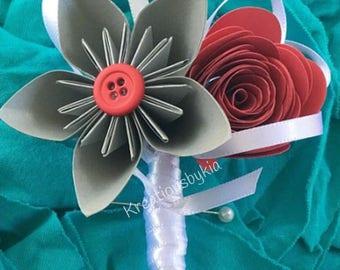 PAPER FLOWER BOUTONNIERE / Wedding Paper Flower  // Kusudama Flower / Origami Flower/ Paper Flowers, buttonhole, rosette flower