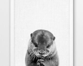 Otter Print, Cute Otter Baby Photo, Woodlands Animals Black White Photography, Nursery Baby Shower Wall Gift Art, Kids Room Printable Decor
