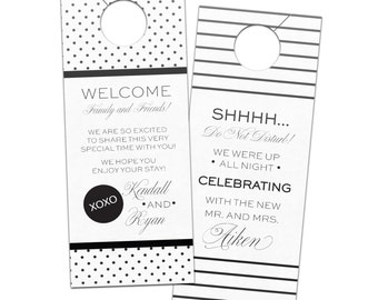 Wedding door hanger modern polka dots and stripes hotel guest favor for welcome bags  - bridal do not disturb privacy door sign